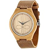 Wonbee Men's Bamboo Wood Watches with Natural Cowhide Leather Strap and Infinity Design,Brown,Packaged in a Box,Bonus 2 Wooden Bracelets