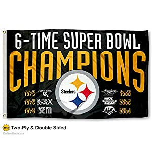 Pittsburgh Steelers Double Sided 6 Time Super Bowl Champions Flag at Steeler Mania