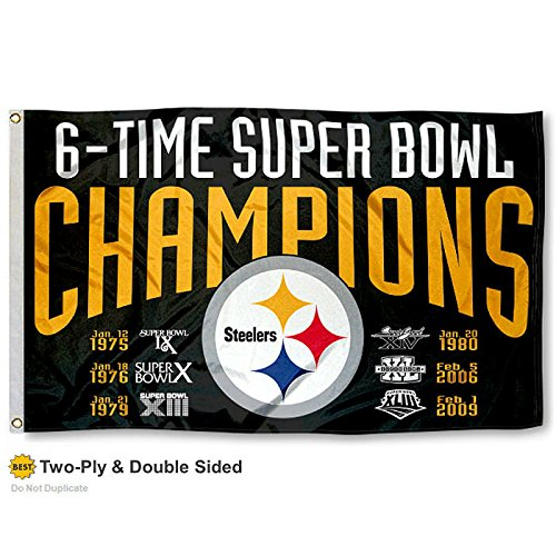 Pittsburgh Steelers Double Sided 6 Time Super Bowl Champions Flag
