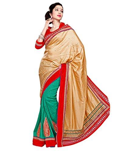 Admyrin women Bhagalpuri Cotton Resham Embroidery worked Green and Beige Saree