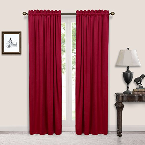 Nicetown Classic - Velvet Textured Woven Home Theater Rod Pocket Blackout Curtains (One Pair, W52xL96-inch, Ruby Red)