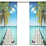 ユキオ(UKIO) レースカーテン 欧米 透け 紗のカーテン 人気 おしゃれ,美しい海辺 木の橋 青空 ブルー,透明 スタイルカーテン 2枚セット幅140丈200