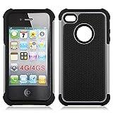 Bracevor Triple Layer Defender Grey Back case for Apple iPhone 4 4s 4g