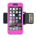Gear Beast GearBand Silicone Sports Armband For Apple iPhone 6s / iPhone 6 (4.7 Inch) With Two Armband Straps FREE Screen Protector (Hot Pink)