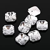 AB4 20pcs Sew on Diamante SQUARE BUTTONS Sparkle Acrylic Crystal Rhinestone 17mm