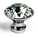 Winpoon® 10PCS 25mm Diamond Shape Crystal Glass Cabinet Knob Cupboard Drawer Pull Handle/Great for Cupboard, Kitchen and Bathroom Cabinets, Shutters, etc