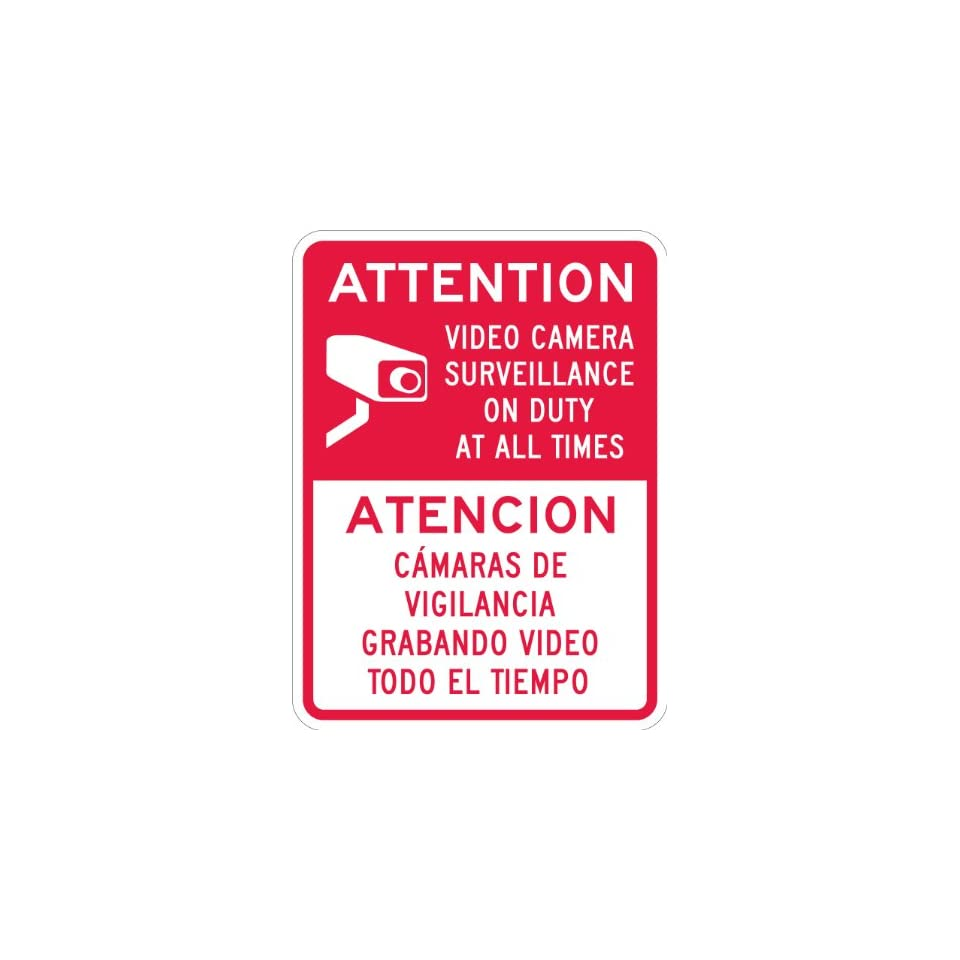SmartSign 3M High Intensity Grade Reflective Sign, Legend Attention   Video Camera Surveillance, Bilingual Sign with Graphic, 24 high x 18 wide, Red on White