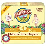 Earths Best TenderCare Chlorine Free Diapers, Size 4, (22-37 Pounds), 120 Count