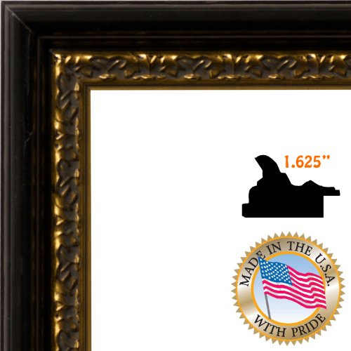 8.5x11 / 8.5 x 11 Black with Gold Leaf Custom Picture Frame - Brand NEW .. 1.625'' wide