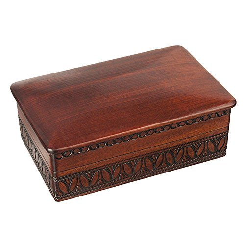 Espresso Stained Linden Wood Jewelry Keepsake Storage Box (Linden Wood compare prices)