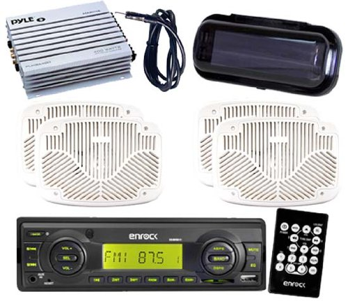 Black Motorcycle Am/Fm Player Aux 4 6X9 Speakers W/Amp Antenna Cover Remote Kit