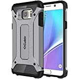 Cubix Defender Dual Layer Shockproof Bumper Back Case Cover For Samsung Galaxy Note 5 (Grey)