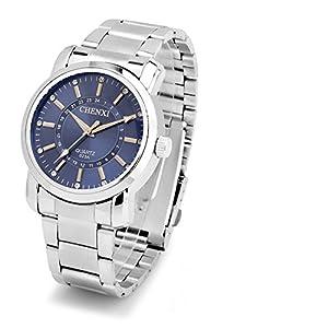 Men Brand Stylish Rhinestone Wrist Watch,Luminous Waterproof Quartz Wrist Watch For Men- Blue