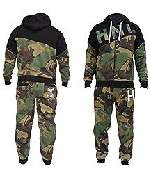 New Mens Boys Designer Zipped Top Bottoms Jogging Suits Tracksuits S-XL-Khaki-M