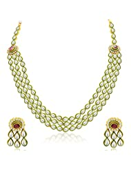 Sukkhi Beguiling Three Strings Gold Plated Kundan Necklace Set For Women