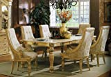 7pc Formal Dining Table & Chairs Set White Wash Finish