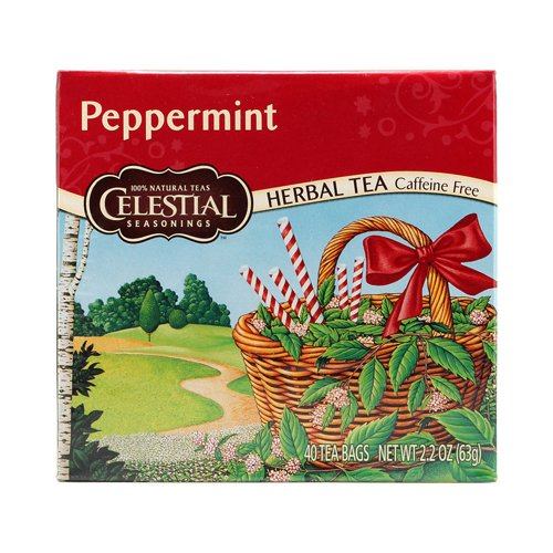 Celestial Seasonings Herbal Tea Caffeine Free Peppermint - 40 Tea Bags - Case of 6