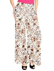 Fashion205 Beige And Grey Printed American Crepe Palazzo - B00VE3VQ9Q