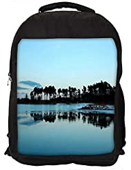 "Snoogg Trees On The Beach Side Casual Laptop Backpak Fits All 15 - 15.6"" Inch Laptops"
