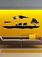 Ambiance Live Vinilo Adhesivo El Paisaje Y Los Elefantes De África Negro