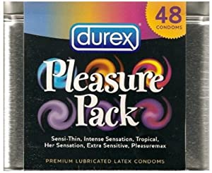 Durex Pleasure Pack Condom Tin, 48 Count