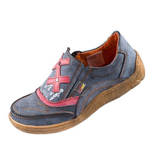 TMA EYES 1417 Klettschuh Gr.36-42 mit bequemen perforiertem Fußbett , Leder ATMUNGSAKTIV in Antikschwarz (37)
