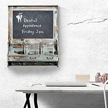 Rustic Dark Brown Wood Wall Mounted Mail Sorter Key Hook Organizer Rack w/ Memo Bulletin Chalkboard Sign