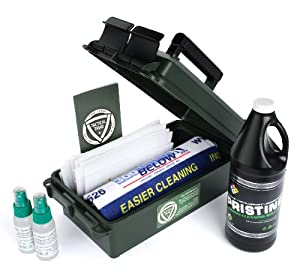 Tactical Triad Professional Gun Cleaning Kit for Firearm Cleaning with Non-Toxic Biodegradable Gun Cleaner and Gun Oil Lubricant Penetrant and Patented Non-Abrasive Scrub Pad (Pristine, Slip Mist, Pure Scrub)
