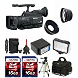Panasonic AG-HMC40 Camcorder + Wide Angle + Telephoto Lens + Battery + Two 16GB Cards + Case + Tripod + Led Light + Filter Kit