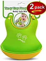 Food Catcher Soft Bib (2 pack Yellow/Green) Waterproof - GREAT GIFT FOR MOMS! - For Baby Girls and Boys - Bonus: FREE eBook ($9.99 value)
