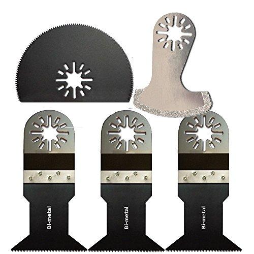 Bi-Metal Blade Multi Tool Oscillating Saw Blade For Fein Multimaster Bosch Dremel Multi-Max,5Pcs Blade,3Types
