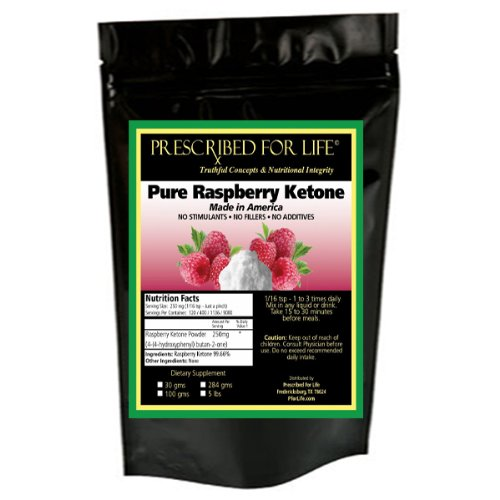 Raspberry Ketones Powder 100% Natural & Made In Usa- 30,000 Mg Bulk Pack - Equals 120 - 250Mg Servings