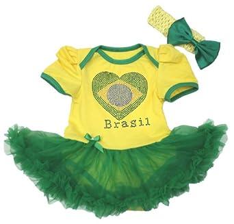 Amazon com world cup rhinestone brazil heart yellow girl bodysuit