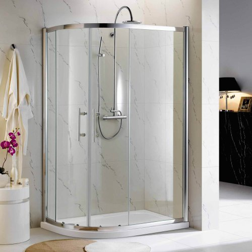 760x900mm Tall Glass Quadrant Shower Enclosure with Stone Tray and Panel