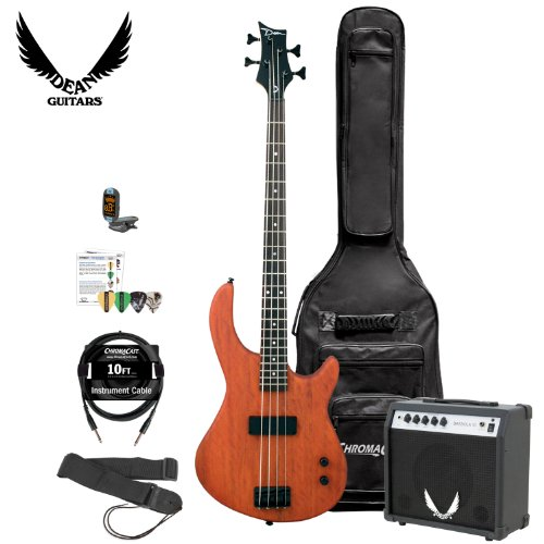 Dean Edge 09 Mahogany Satin Natural Electric Bass with Amp, Cable, Strap, 4 Pick Sampler, Tuner & Gig Bag (Dean Bass Edge 09 compare prices)