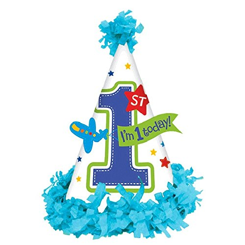 "Amscan All Aboard Boy 1st Birthday Fringed Party Cone Hat, 7"", Blue"