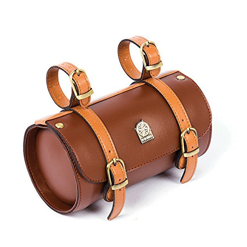 Comfortable Soft Vintage Bicycle Saddle Tail Handlebar Tools Bag, Cylindrical, Handmade 0