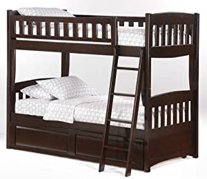 port Twin over Twin Bunk Bed plus Understorage Unit with Dark Chocolate Finish from Bunksnstuff