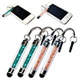 2XNo1accessory new Peacock blue + champagne crystal shaft stylus pen for blackberry curve 9380 Z10 PlayBook 7