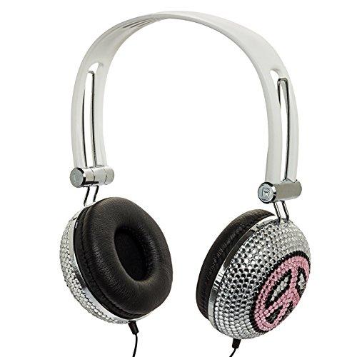 Pink And Black Peace Crystal Rhinestone Dj Over-Ear Headphones