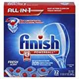 Finish Powerball Tabs Dishwasher Detergent, Fresh Scent, 32-Count