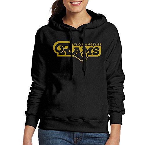 PHOEB Womens Sportswear Drawstring Hoodie Sweatshirt,Los Angeles Rams Black XX-Large