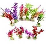 10X Aquariumpflanzen K�nstliche Keramik Aquarium Pflanzen Terrarium Deko Farbig