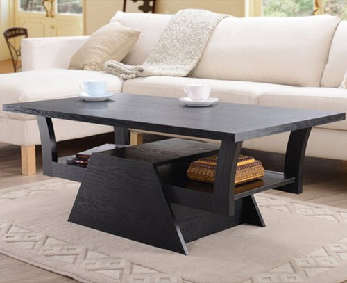 Contemporary Teeter-totter Coffee Table with Storage Organizer Smooth Rectangular Top Wooden Living Room Furniture