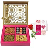 Valentine Chocholik's Premium Gifts - Festival Delight Gift Box With Love Card And Rose