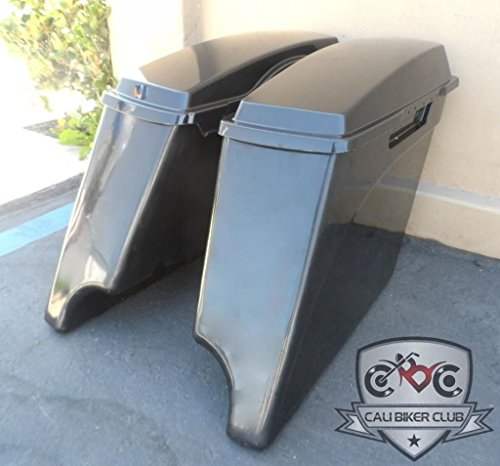 Extended Saddlebags with Lids: Hard ABS Unpainted Plastic 4