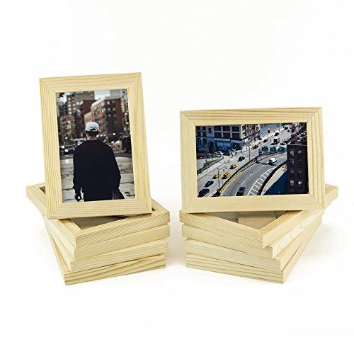 Set of 10 Unfinished Solid Wood Photo Picture Frames 4x6 Inch , Ready to Paint for DIY Projects (Photo Frame Craft compare prices)