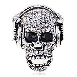 LUREME Women's Silver Tone Rhinestone Skull With Earphone Adjustable Ring (04000227-1) by Yida