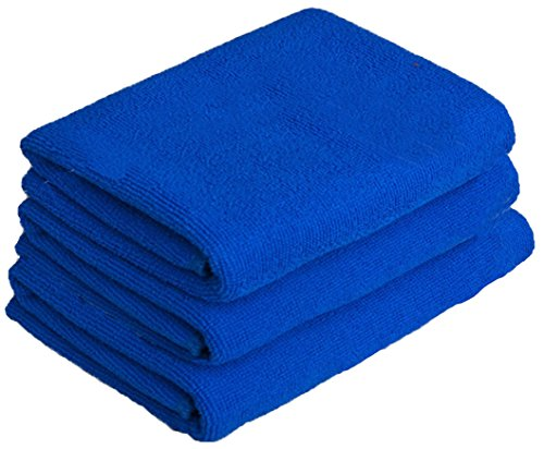 Simplife Microfiber Sports Travel Towels Super Absorbent Fast Drying Fitness Gym Towels Hand Cleaning Workout Towel Bath Washcloths 3-Pack ( Blue,16 Inch X 32 Inch)