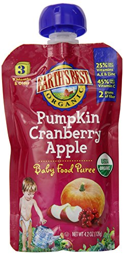 Earth's Best Organic Stage 3, Pumpkin, Cranberry & Apple, 4.2 Ounce Pouch (Pack of 12)